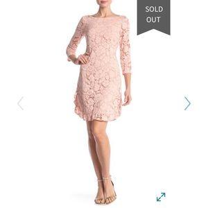 Vince Camuto lace ruffle detail blush dress NWT